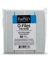 ForPro O-Files Replaceable File System Quick Shine Buffer Refills Green 400 Grit 40-Count