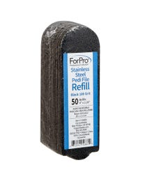 ForPro Stainless Steel Pedi File Refill 100 Grit Black 50-Count