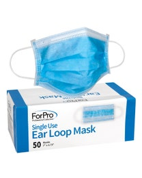 ForPro Single Use Ear Loop Mask, Blue, 50-Count Box