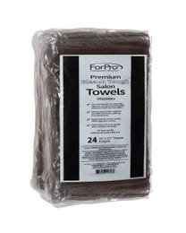 ForPro Premium Bleach Tough Salon Towels Chocolate 24-Count