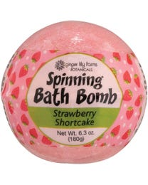 Ginger Lily Farms Botanicals Spinning Bath Bombs Strawberry Shortcake, Spins, Releases Colors and Fragrance in Bath, 6.3 Ounces Each, 6-Count