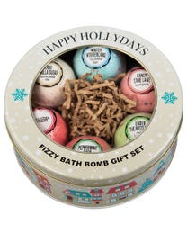Ginger Lily Farms Botanicals Happy Holidays Fizzy Bath Bomb Tin Gift Set, 3 Ounces Each, 6-Pieces