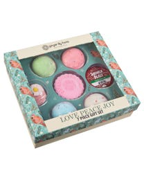 Ginger Lily Farms Botanicals LOVE PEACE JOY Gift Set, Selection of Bath and Shower Bombs, 7-Pieces