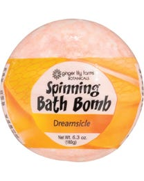 Ginger Lily Farms Botanicals Spinning Bath Bombs Dreamsicle, Spins, Releases Colors and Fragrance in Bath, 6.3 Ounces Each, 3-Count