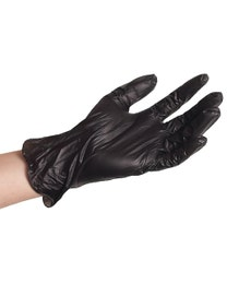 ForPro Black Powder-Free Vinyl Gloves Large 100-Count