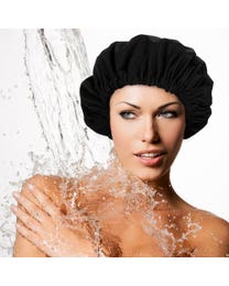 ForPro The Works Luxurious Shower Cap with Travel Bag Classic Black