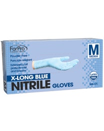 ForPro Blue Nitrile Gloves Powder-Free 7 Mil. Medium 100-Count