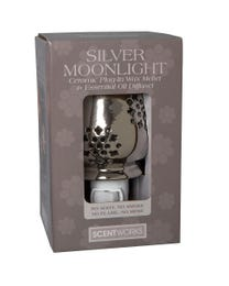 "Silver Moonlight Ceramic Plug-In Wax Melter & Essential Oil Diffuser, Easy-Clean, 3"" Round x 5.25"" H"