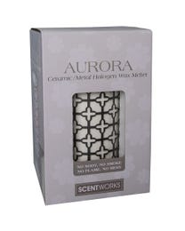 "Aurora Ceramic/Metal Halogen Wax Melter, LED Timer Always On, 2 Hour, 4 Hour, 6 Hour Time Settings, 4.5"" Round x 6"" H"