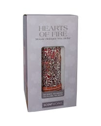"Hearts of Fire Mosaic Halogen Wax Melter, LED Timer Always On, 2 Hour, 4 Hour, 6 Hour Time Settings, 5"" Round x 7"" H"