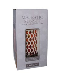 "Majestic Sunset Mosaic Halogen Wax Melter, LED Timer Always On, 2 Hour, 4 Hour, 6 Hour Time Settings, 5"" Round x 7"" H"