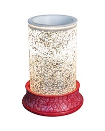 "Diamonds Forever Mosaic Halogen Wax Melter, LED Timer Always On, 2 Hour, 4 Hour, 6 Hour Time Settings, 5"" Round x 7"" H"