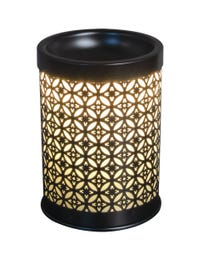 "Serenade Metal Halogen Wax Melter, LED Timer Always On, 2 Hour, 4 Hour, 6 Hour Time Settings, 4.25"" Round x 5.75"" H"