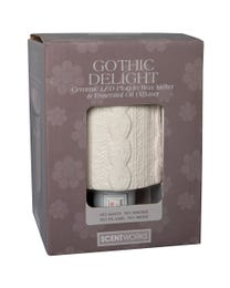 "Gothic Delight Ceramic LED Plug-In Wax Melter & Essential Oil Diffuser, Easy-Clean, 3"" Round x 5.5"" H"