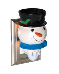 "Jolly Snowman Ceramic Plug-In Wax Melter & Essential Oil Diffuser, Easy-Clean, 3"" Round x 5.25"" H"