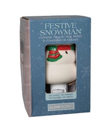 "Festive Snowman Ceramic Plug-In Wax Melter & Essential Oil Diffuser, Easy-Clean, 3"" Round x 5.5"" H"