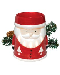 "Santa's Coming to Town Ceramic Halogen Wax Melter, Easy-Clean, 4.75"" Round x 5.75""H"