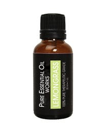 Pure Essential Oil Works Lemongrass Oil, 100% Pure, Natural, Paraben-Free and Therapeutic Grade with Euro-Style Dropper, One-Ounce