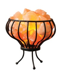 Pure Himalayan Salt Works Natural Iron Basket Lamp with Pure Salt Chunks
