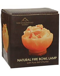 Pure Himalayan Salt Works Natural Fire Bowl Lamp with Pure Salt Chunks