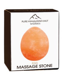 "Pure Himalayan Salt Works Egg Massage Stone, Pink Crystal Hand-Carved Stone for Massage Therapy, Deodorant and Salt and Sugar Scrubs, 2.5"" Round x 3.5"" L"