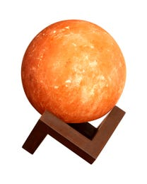 "Pure Himalayan Salt Works Illumination Sphere, Pink Crystal Salt Lamp with Neem and Hand-Stained Mounted Base, Includes 15W Bulb and Toggle On/Off Switch, 6"" L x 6"" W x 8"" H"