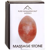 "Pure Himalayan Salt Works Oval Massage Stone, Pink Crystal Hand-Carved Stone for Massage Therapy, Deodorant and Salt and Sugar Scrubs, 2"" Round x 2.5"" L"