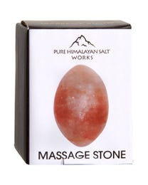"Pure Himalayan Salt Works Oval Massage Stone 2"" Round x 2.5"" L"