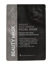 Beauty Mask Works Radiance Black Charcoal Facial Mask, Exclusive Fiber Mask Contains Activated Charcoal, for All Skin Types, 3-Count