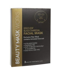 Beauty Mask Works Gold Leaf Black Charcoal Facial Mask, Exclusive Fiber Mask Contains Activated Charcoal, for All Skin Types, 3-Count