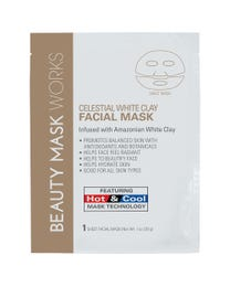 Beauty Mask Works Celestial White Clay Facial Mask, Infused with Amazonian White Clay, Features Hot and Cold Mask Technology, for All Skin Types, 3-Count