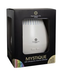 Pure Essential Oil Works Mystique LED Ultrasonic Aroma Diffuser, Diffuses Essential Oils with Cool Mist, Adjustable Mist Options, Auto Shut-Off and Seven LED Light Colors