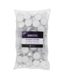 Scentworks Premium Fragrance-Free White Tealight Candles, 4-5 hour burn, 100-Count, 3-Pack