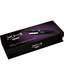 "XHI Professional Works Nano ST Digital Flat Iron, Black, Salon Quality Hair Straightener with Digital LCD Display, Nano Silver Titanium Plates and Adjustable Temperature Control up to 450°F, 1"" Plates"