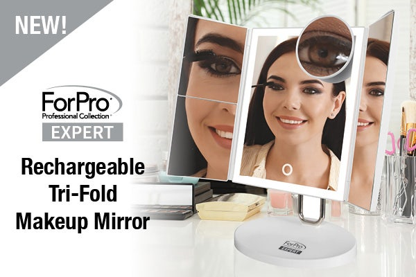 NEW! ForPro Expert Rechargeable LED Tri-Panel Makeup Mirror