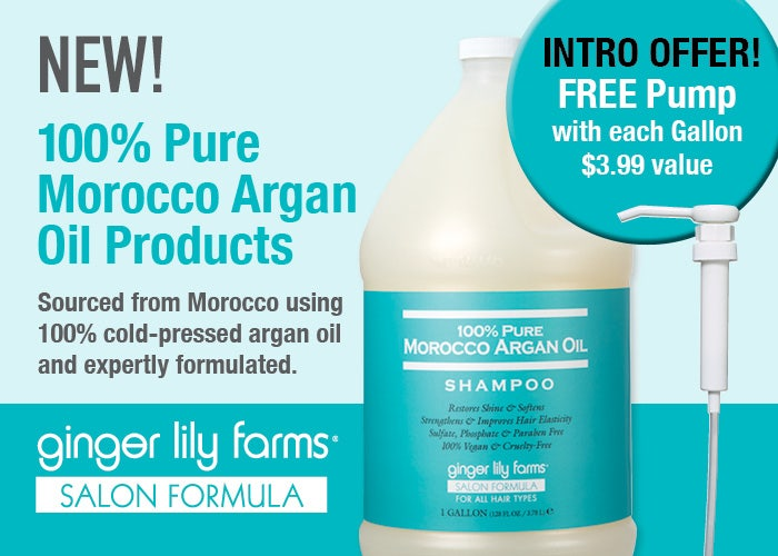 NEW! Ginger Lily Farms Salon Formula 100% Pure Morocco Argan Oil Products. Free Pump with each gallon $3.99 value.